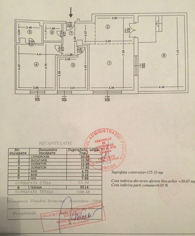 Decomandat, 3 camere 75 mp, curte individuala 33 mp, Sisesti
