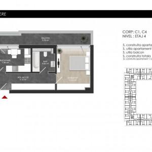 Apartament cu 2 camere tip 2E Balcon - Atria Urban Resort