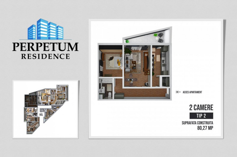 COMISION 0% ! SALA POLIVALENTA - PERPETUM RESIDENCE II  -2 camere TIP 2