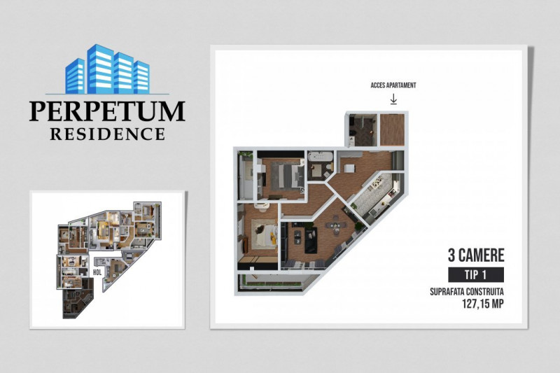 COMISION 0% ! SALA POLIVALENTA - PERPETUM RESIDENCE II  - 3 camere TIP 1