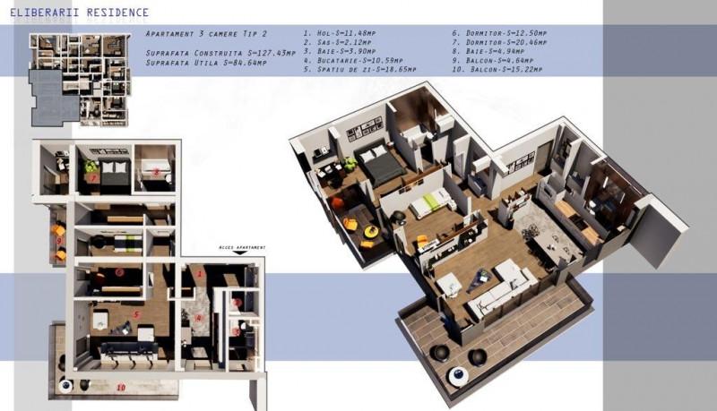 DIRECT DEZVOLTATOR!  INEL II  -  3 camere TIP 2 in Eliberarii Residence